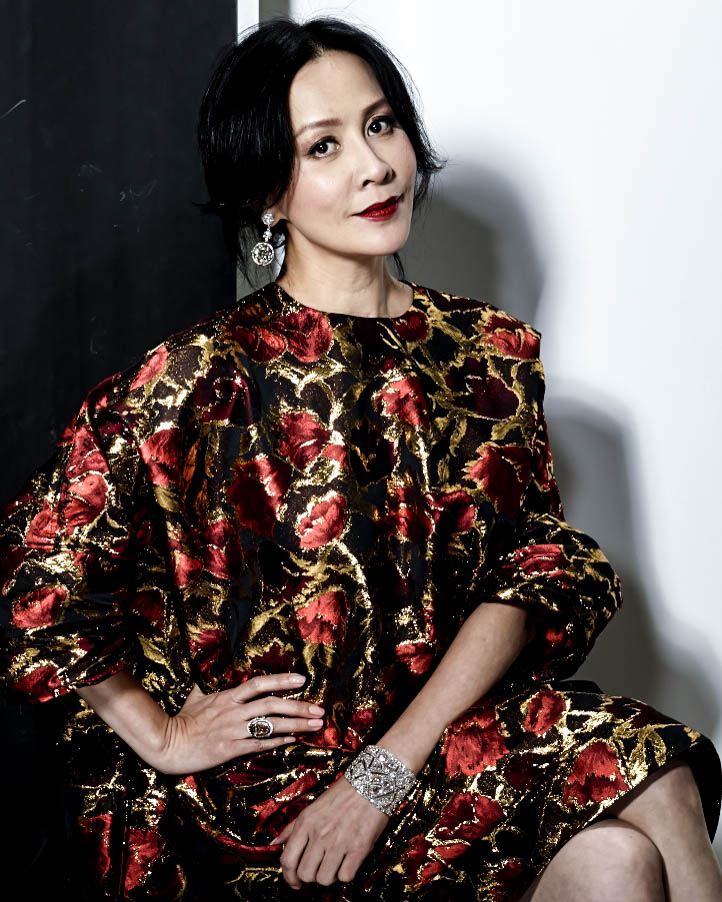 Carina Lau wearing Diamond Constellation Bangle, Autumn Fantasy Ring and Brilliant Diamond Earrings for Hong Kong Tatler's July 2015 Issue.